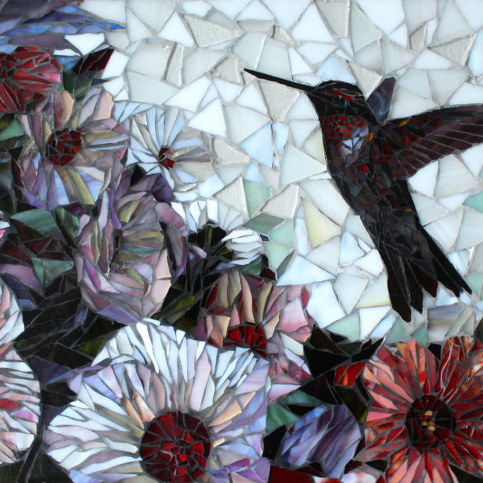 "We worked with the client directly to create this hummingbird backsplash for their kitchen remodel.  This was created via artwork first and then, upon approval, made into a glass mosaic<br> <em>20"" X 26""</em>"
