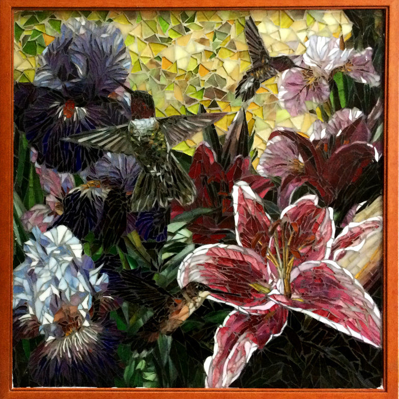"This glass mosaic was created for a client as a gift for a friend.  The flowers and hummingbirds were reminiscent of hours spent on the back porch in conversation.<br> <em>24"" x 24""</em>"