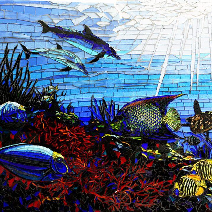 Kyles Backsplash: Custom Mosaic Artistic Ocean Scene With Dolphins & Fish