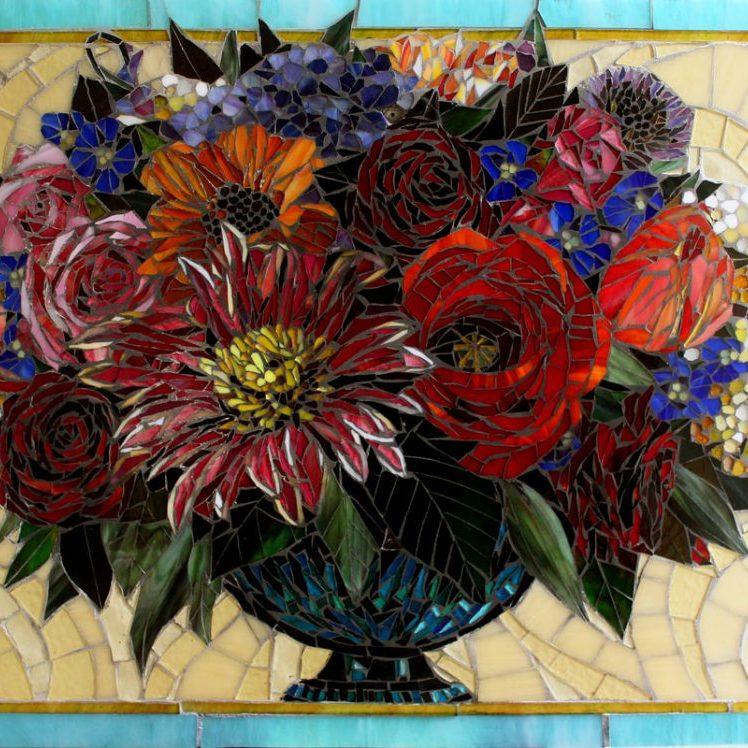 Longo: Custom Floral Mosaic Tile Kitchen Backsplash