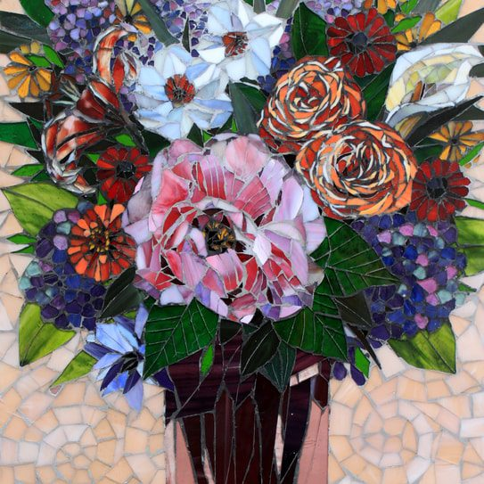 May Flowers: Custom Stained Glass Mosaic Fine Artwork