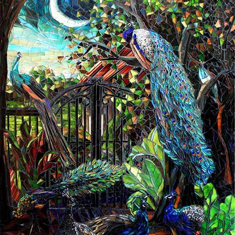 Peacocks in the Garden: Mosaic Art