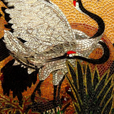 Red Crowned Cranes: Mosaic Art