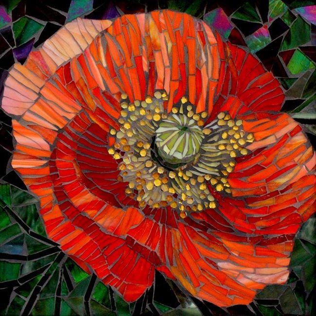Red Poppy: Custom Mosaic Art