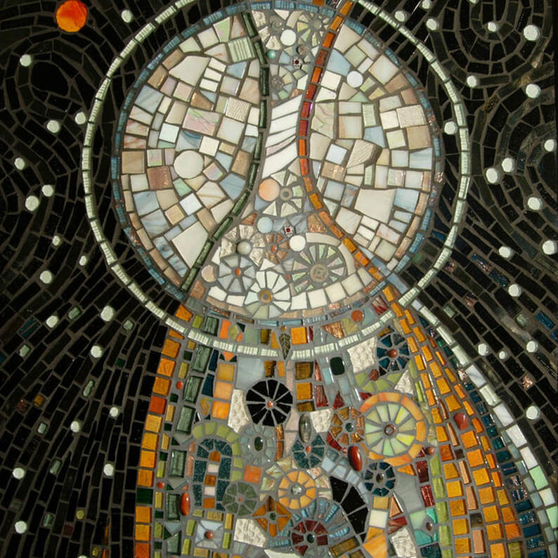 Glass, semi precious stones, beads and ceramic pieces make up this abstract art mosaic.
