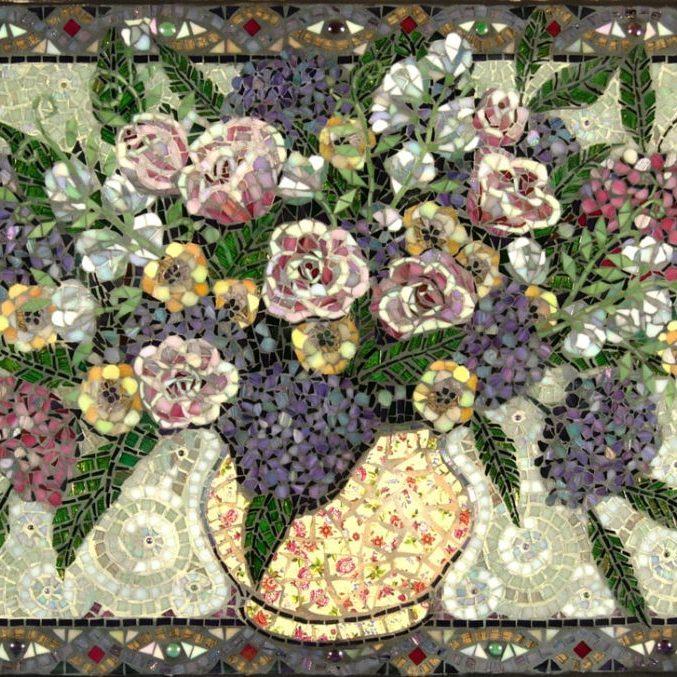 Nita's Backsplash: Custom Floral Glass Mosaic Tile