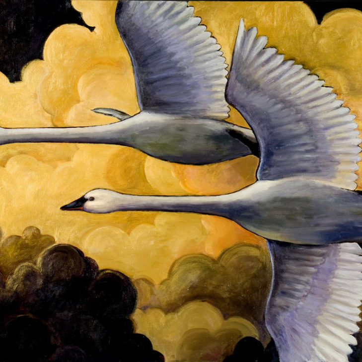 Artwork that later became a mosaic.  We have trumpeter swans that winter in our area and I love  ​the beauty of the close family units enjoyed by these birds.<br> <em>Oil on canvas</em>