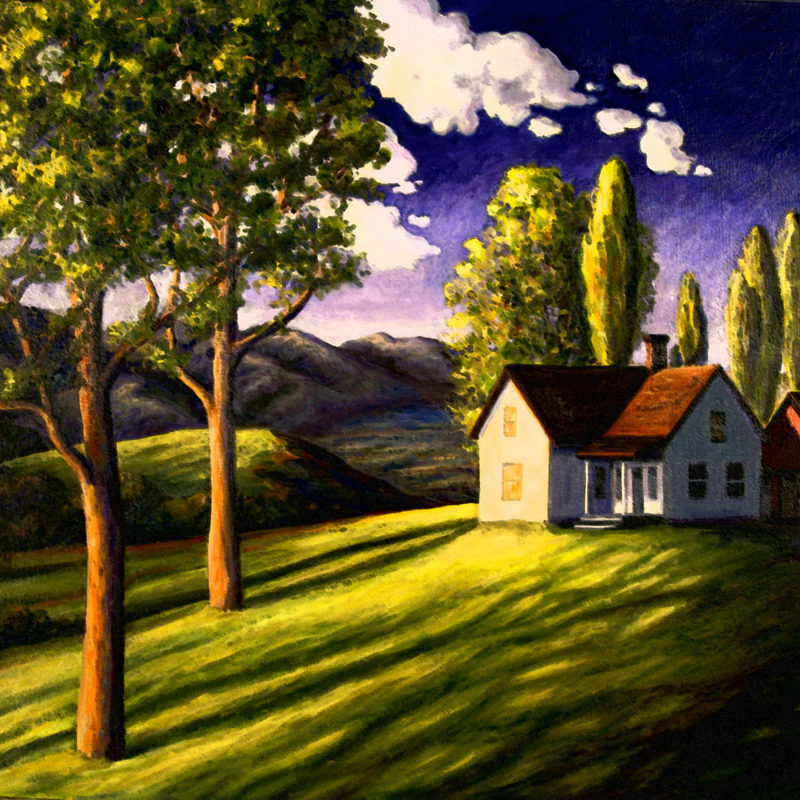 Painting done for a client with a glowing sunlit home in a peaceful landscape<br> <em>oil on canvas</em>