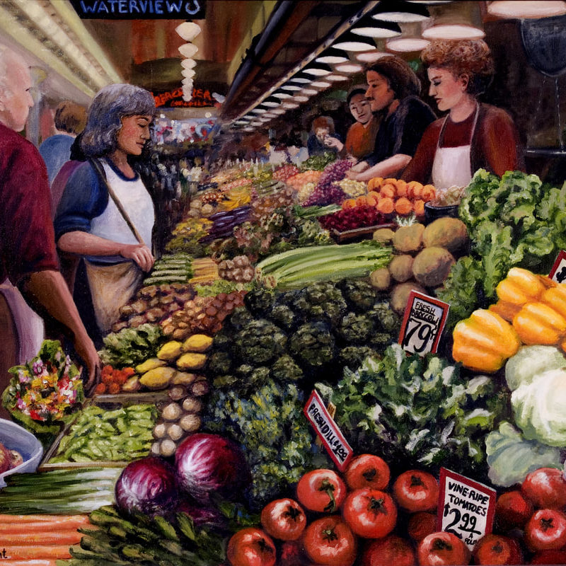 Bright fruit stand at the Pike Place Market in Seattle Wash.<br> <em>oil on canvas</em>