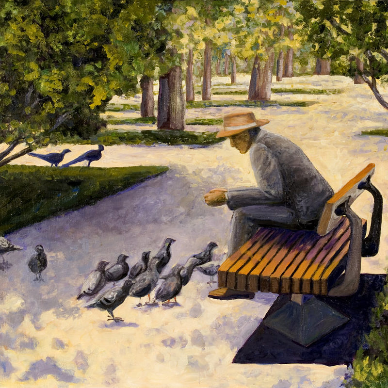 A quiet and peaceful day in a local park<br> <em>oil on canvas</em>