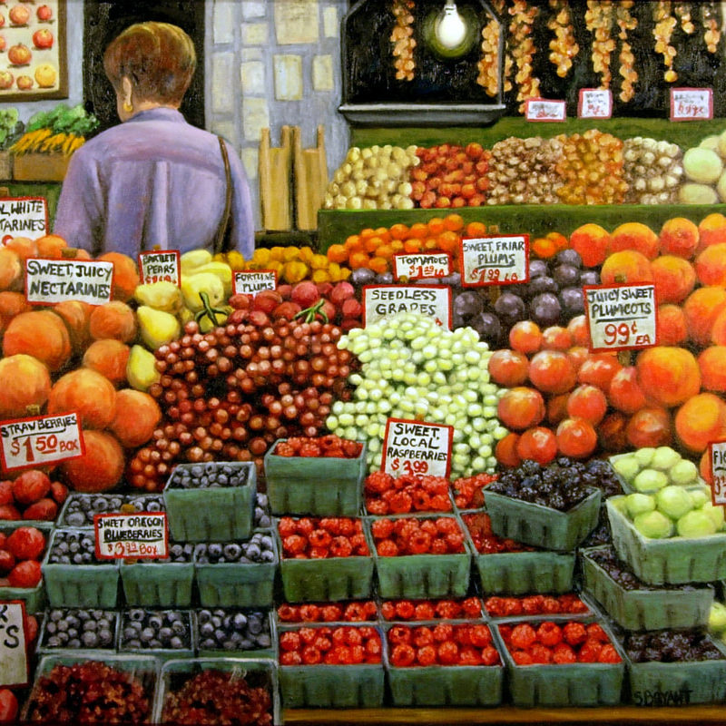 A bright and cheerful painting of the Pike Place Market in Seattle