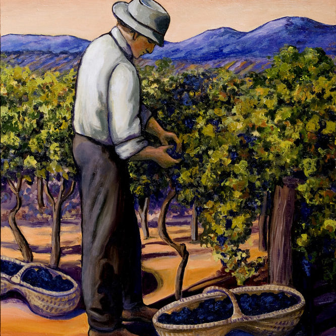 Small painting of a California vineyard.<br> <em>oil on canvas</em>