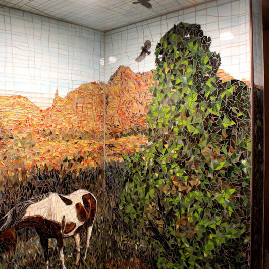 350 square feet of mosaic mural celebrating the flora and fauna of the Palo Duro Canyon landscape.  The mural was designed and created for a private residence in Amarillo, TX.
