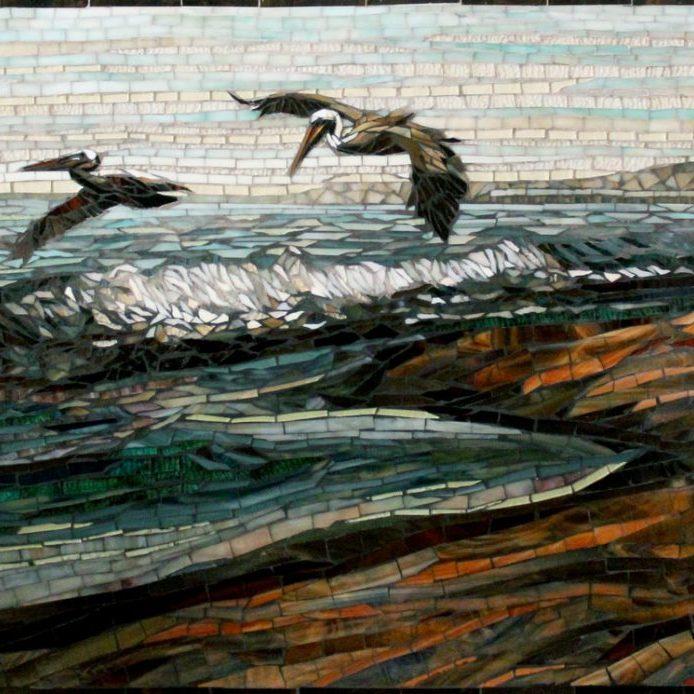 Pelicans: Custom Mosaic Art Backsplash