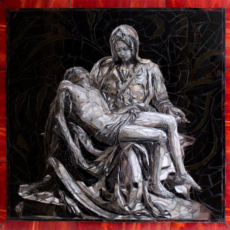 "​Commission piece for a Washington residence.  This work was done for a husband and wife who had taken a trip to Rome.  This was done as a memento for the wife's favorite sculpture by Michelangelo the Pieta<br> <em>30"" x 30"" glass mosaic</em>"