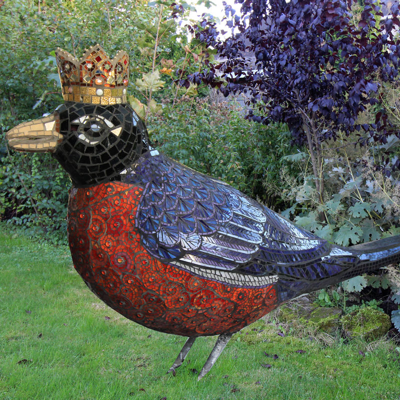 This mosaic sculpture was created on a Styrofoam base covered in mesh and mortar.  This sculpture was created for a client for her beautiful Seattle garden.<br><em>4ft x 6ft</em>