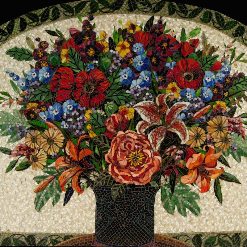 San Antonio Backsplash: Custom Floral Glass Mosaic Tiles