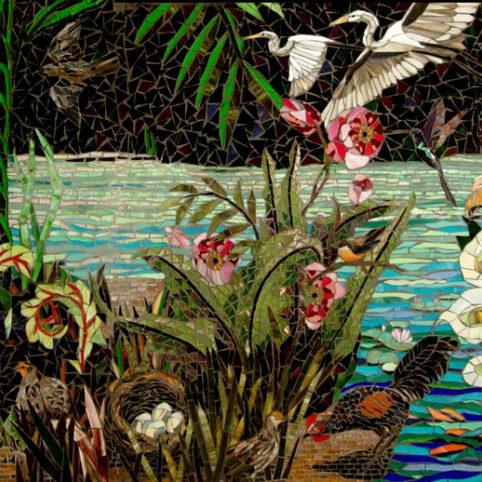 "This work was a celebration of the rich variety of birdlife in our world and the responsibility we have to create and maintain sanctuary for these wonderful creatures. Bellingham, WA, private commission.  <br> <em>glass mosaic, <br> 72"" x 108"", <br> ​(2009)</em>"