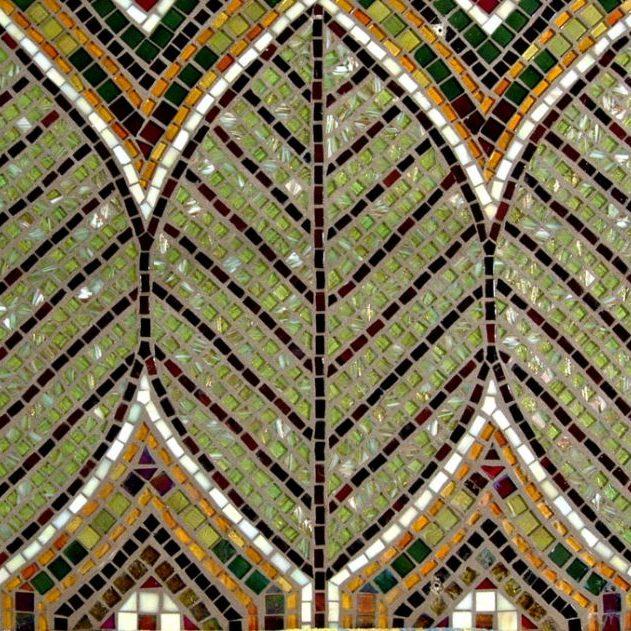 Three Leaves Backsplash: Custom Glass Mosaic