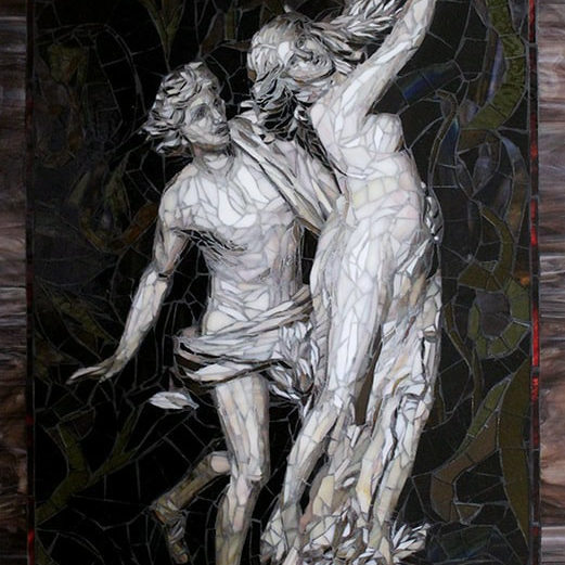 "Commission art for a Washington residence.  This work was created for a husband and wife upon returning from their trip to Rome.  This was created as a memento for the husband's favorite sculpture by Bernini, Apollo and Daphne.<br> <em>37"" x 24""</em>"